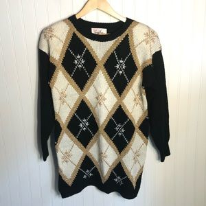 Vintage Oversized Sweater Black White Gold Small